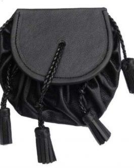 Black Drawstring Sporran with Tassels